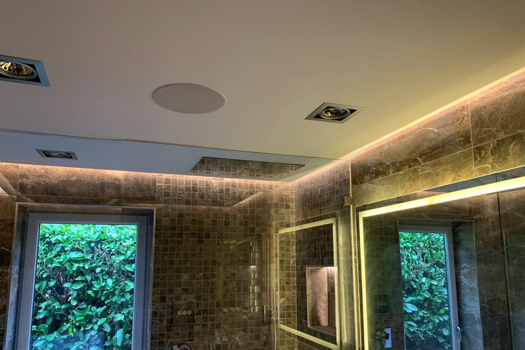 Bathroom with Sonance in ceiling speakers