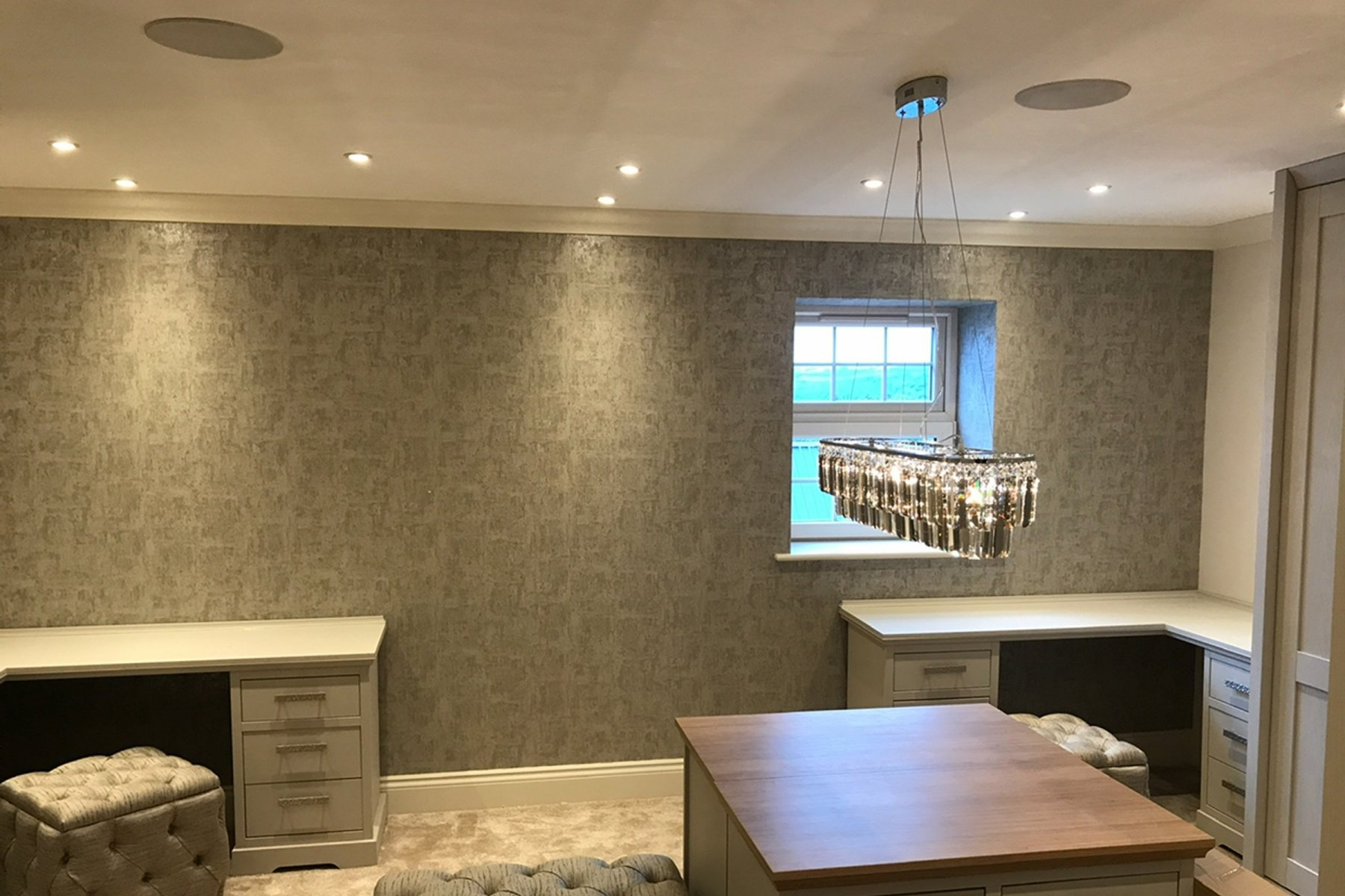 Dressing room with Sonance in ceiling speakers
