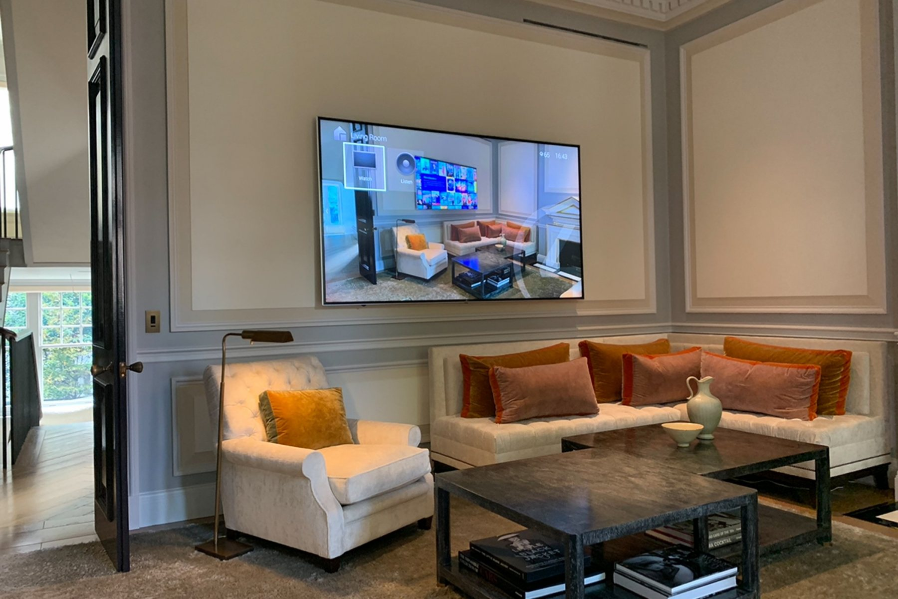 Luxury living room with Lutron and Control 4 automation