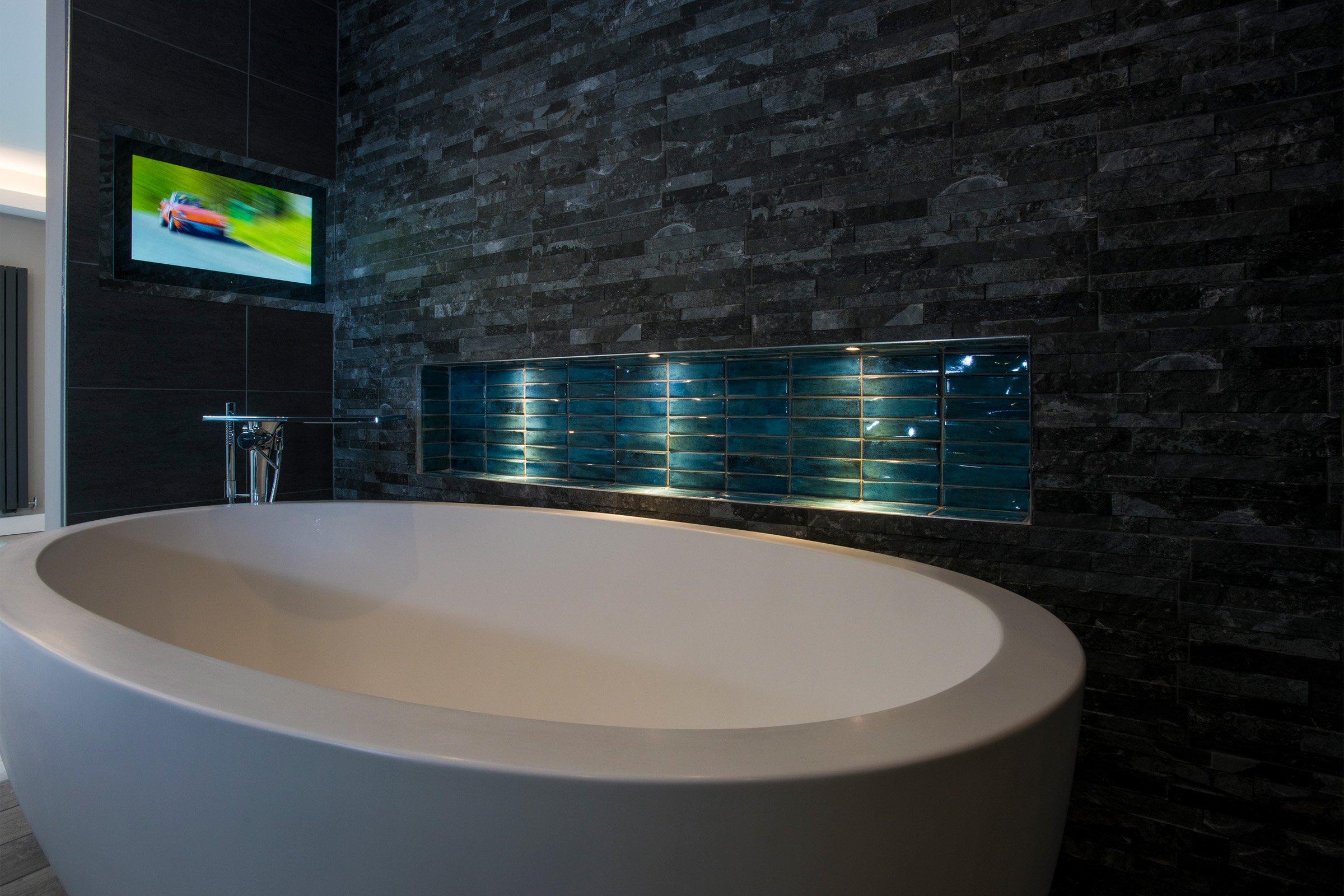 Luxury bathroom featuring bathroom TV
