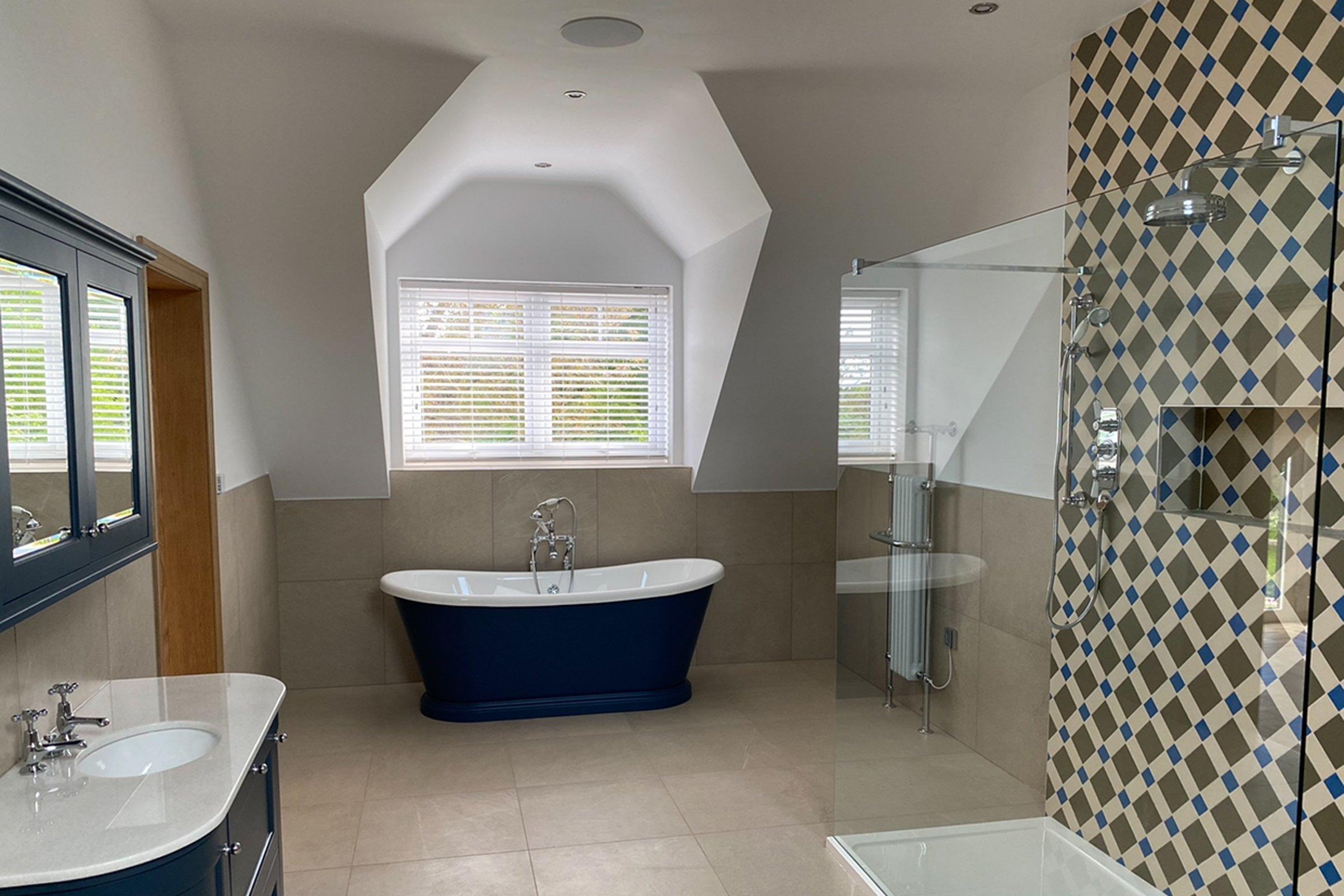 Luxury bathroom with Sonance in-ceiling speakers