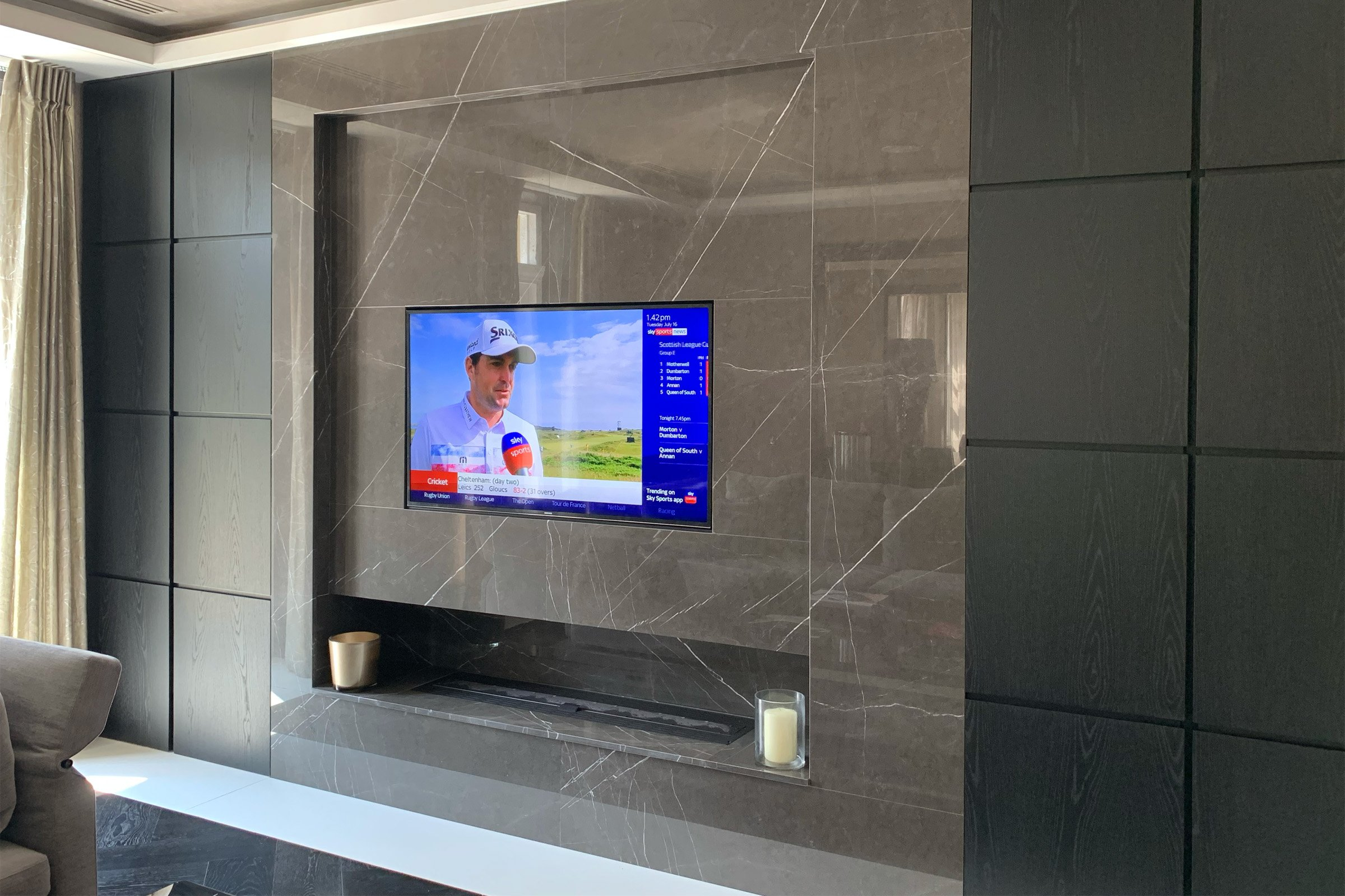 In wall TV with Wyrestorm video distribution