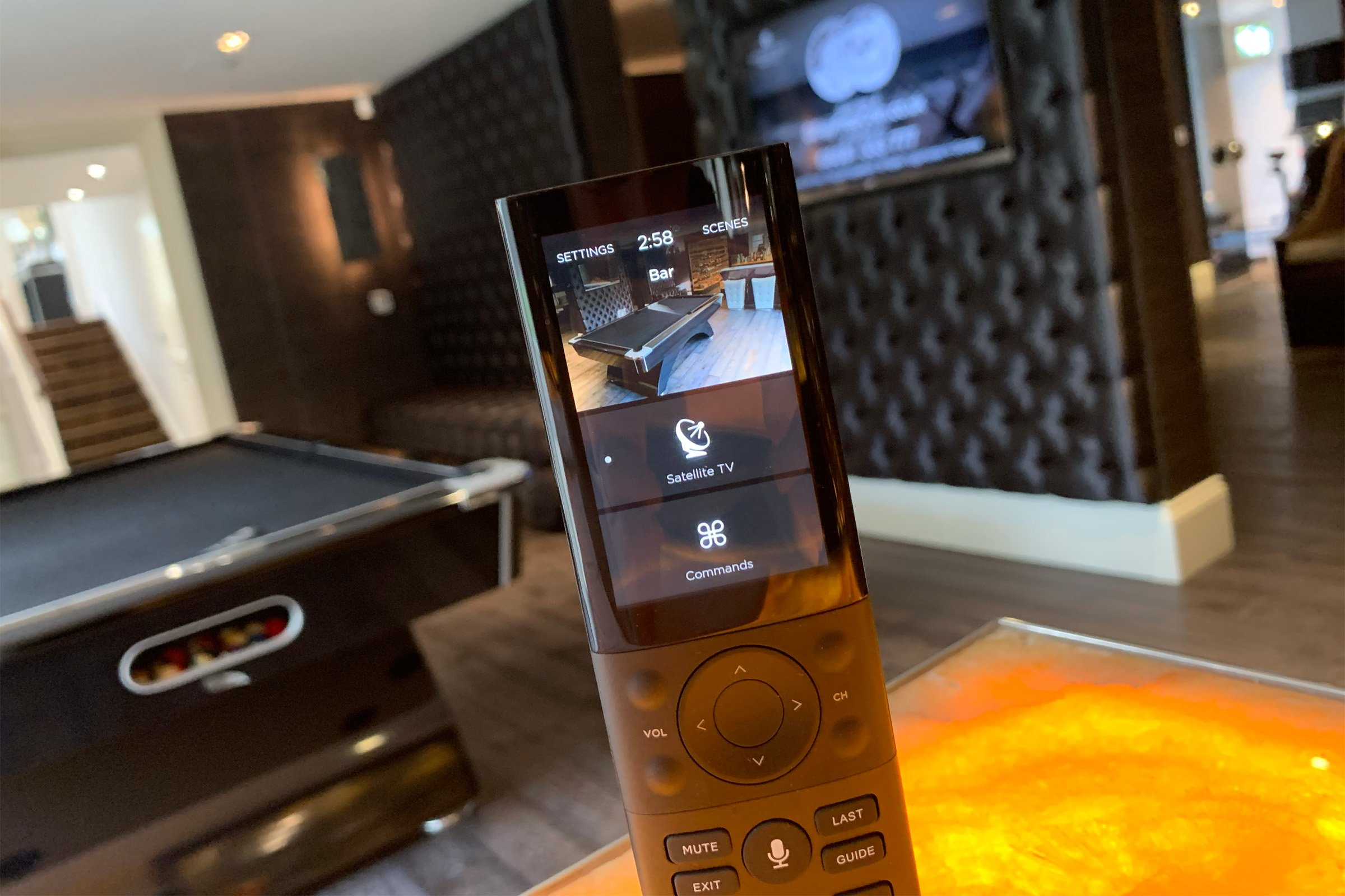Entertainment room with Savant remote control