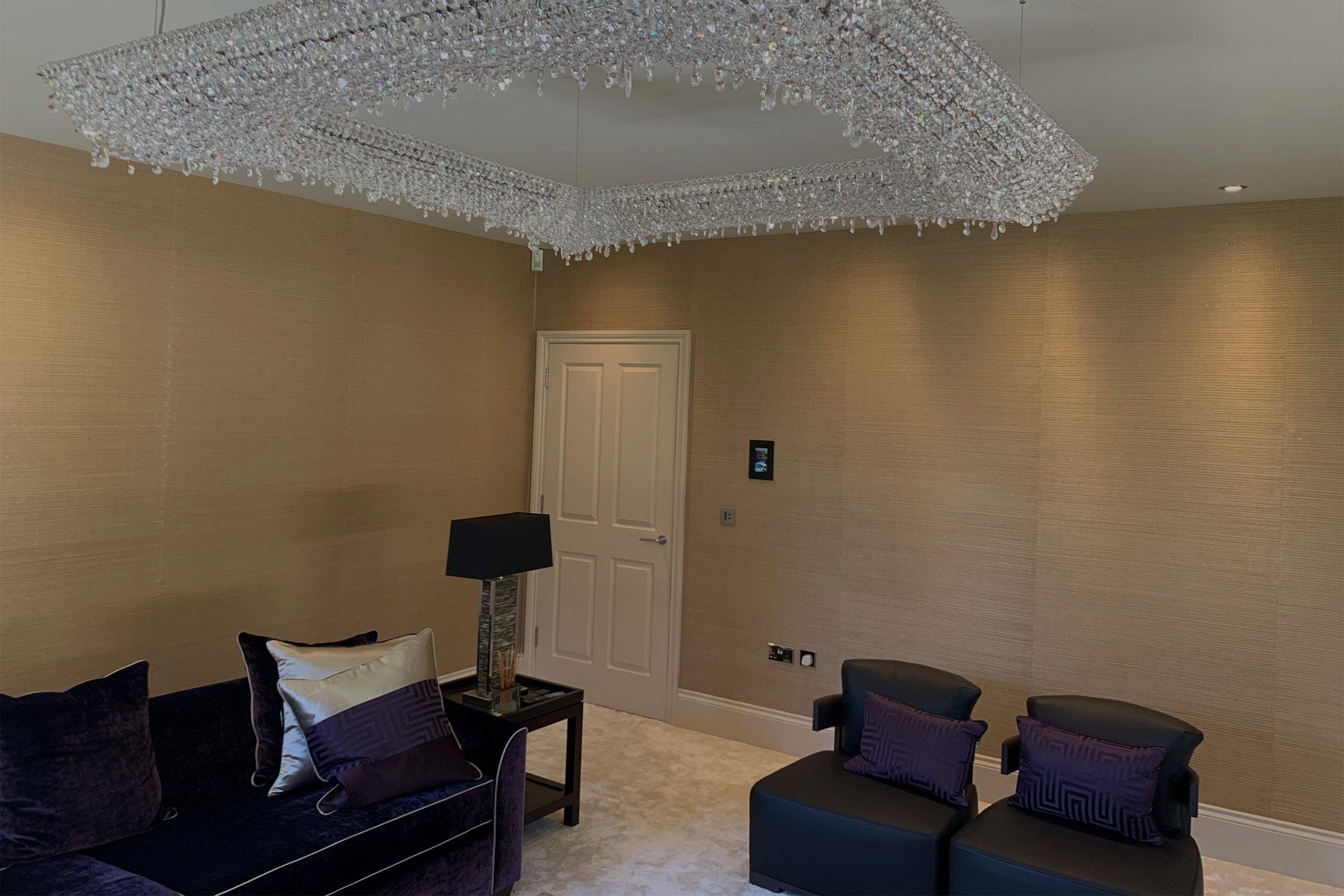 Formal living room with Lutron lighting and Savant control