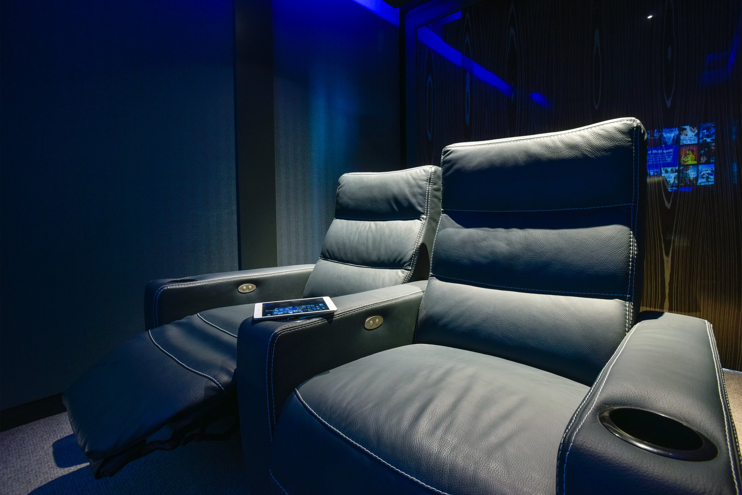Luxury cinema seating controlled by Savant automation
