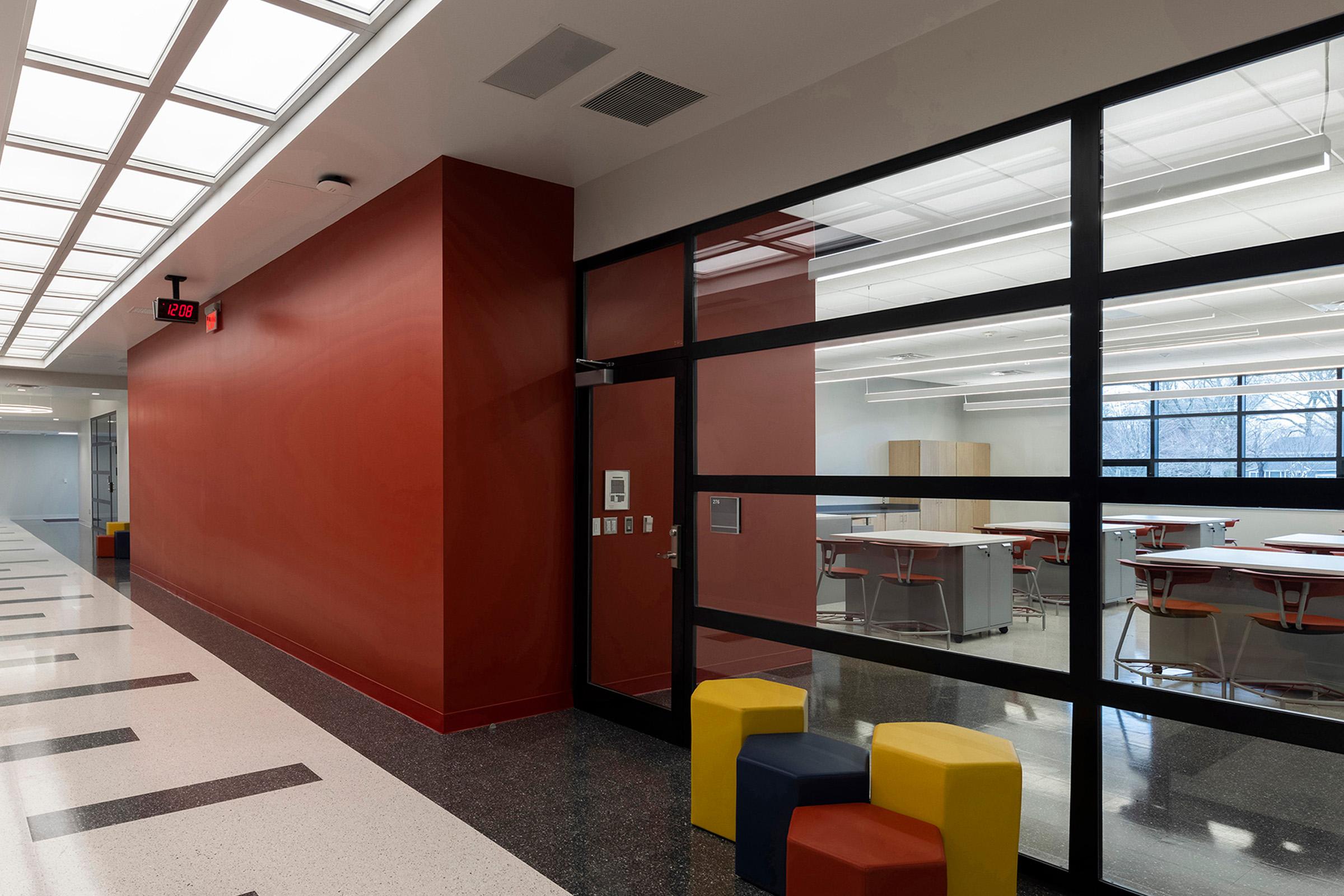 Artificial sunlight in commercial workspace corridor
